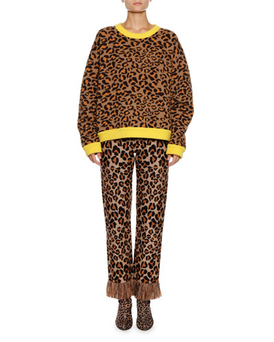 Leopard-Intarsia Crewneck Pullover Sweater w/ Leather Fringe  and Matching Items