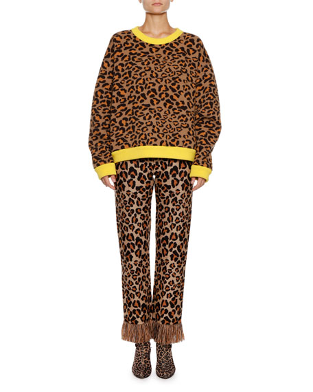 Leopard-Intarsia Crewneck Pullover Sweater w/ Leather Fringe