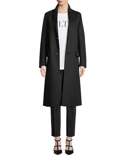VLTN Back Logo Two-Button Wool-Cashmere Coat and Matching Items