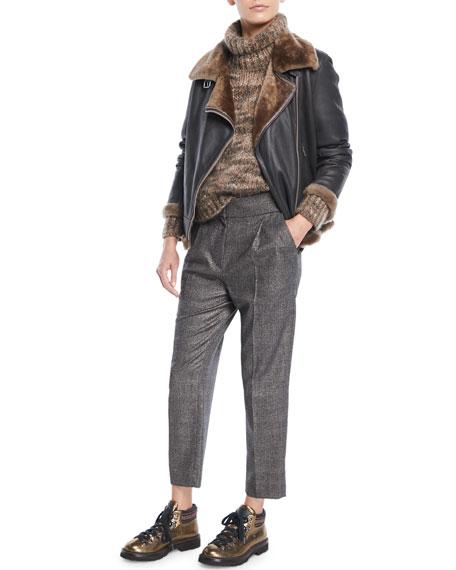 Zip-Front Shearling & Leather Moto Jacket w/ Monili Trim