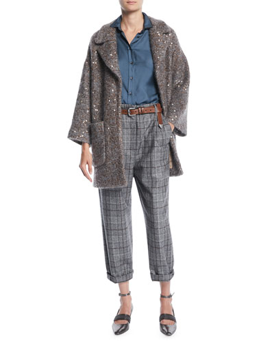 Tweed Paillette Knitted Jacket w/ Silk Lining  and Matching Items