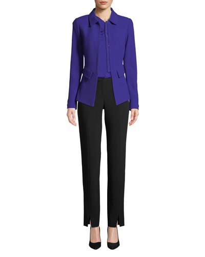 Crepe Marocain Ankle Pants, Caviar and Matching Items