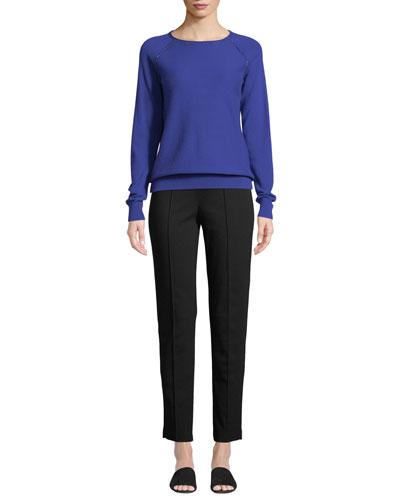 Ponte Cropped Pull-On Pants, Black and Matching Items