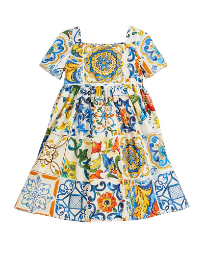 Maiolica-Print Cotton A-Line Dress, Size 4-6  and Matching Items
