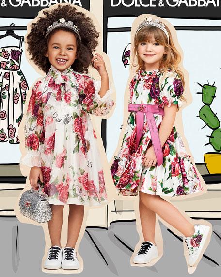 Poplin Peonies-Print Tiered Puffy-Sleeve Dress, Size 4-6