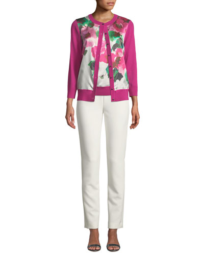 Merino Jersey Cardigan with Floral Silk Panel and Matching Items