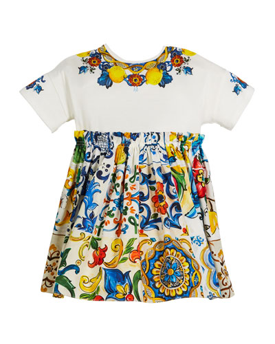Combo Maiolica-Print Short-Sleeve Dress, Size 4-6  and Matching Items