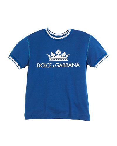 Crown D&G Logo Ringer Tee - Dark Blue, Toddler Boys and Matching Items