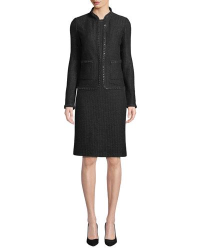 Adina Knit Blazer Jacket with Chain Braid Trim and Matching Items