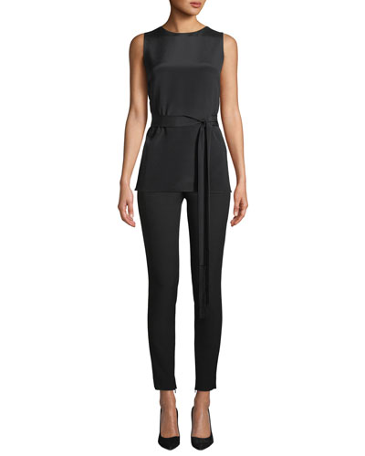 Bella Double-Weave Cropped Leggings w/ Ankle Zippers and Matching Items