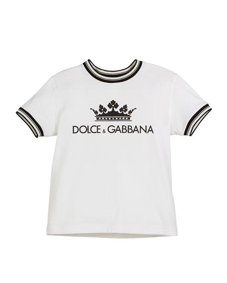 Crown D&G Logo Ringer Tee - Optic White, Toddler Boys