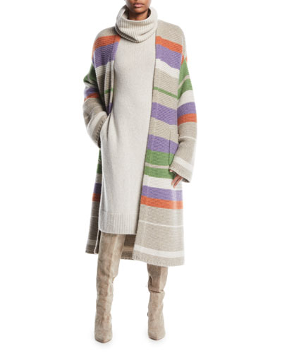 Darlington Open-Front Striped Cashmere Cardigan  and Matching Items