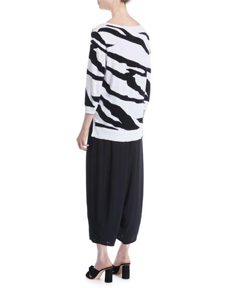 3/4-Sleeve Zebra Pullover Sweater