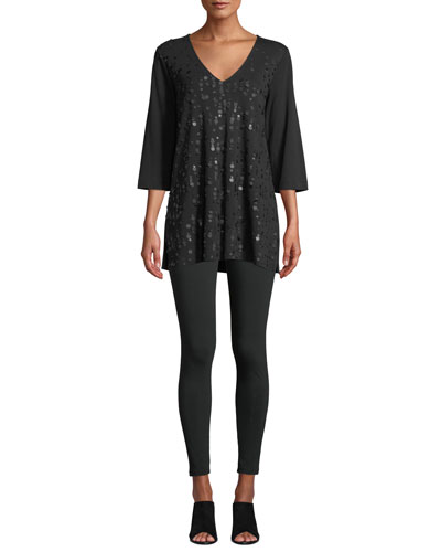V-Neck 3/4-Sleeve Sequined-Front Cotton Interlock Tunic  and Matching Items