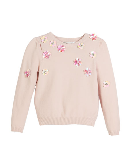 Beaded Floral Pullover Sweater, Size 4-7