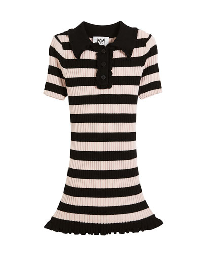 Ribbed Striped Ruffle-Trim Polo Dress, Size 8-14  and Matching Items