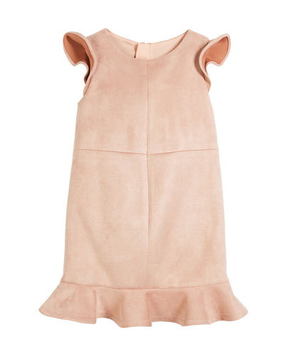 Stretch Paneled Suede Dress, Size 4-7 and Matching Items
