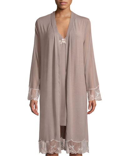 Frisson Vegetal Lace-Trim Robe and Matching Items