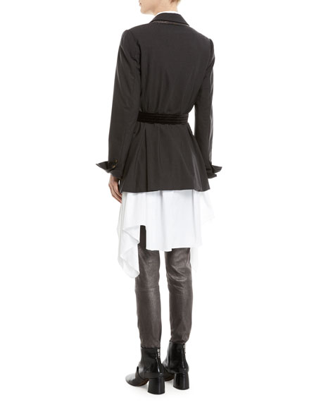 Long Lightweight Wool Blazer Jacket with Velvet Belt