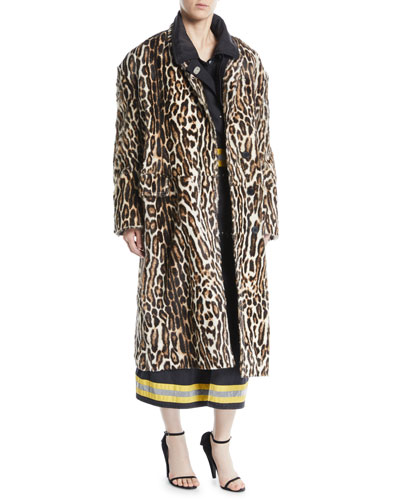 Single-Breasted Oversized Leopard-Print Suede Coat and Matching Items