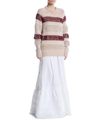 Crewneck Floating-Knit Cross Stitch Wool Sweater and Matching Items