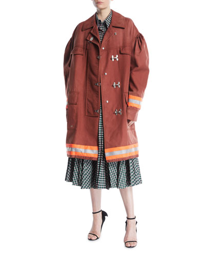 Couture-Sleeve Clasp-Front Fireman Coat w/ Reflective Stripes and Matching Items