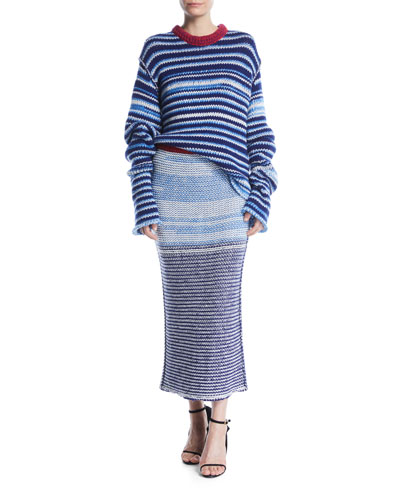 Crewneck Television-Striped Oversized Sweater  and Matching Items