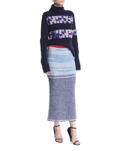 Turtleneck Balaclava Hood Floating-Yarn Ribbed Wool Sweater and Matching Items