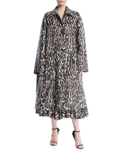 Single-Breasted Leopard-Print Faille Oversized Swing Midi Coat and Matching Items