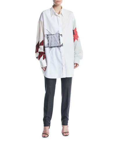 Long-Sleeve Button-Front Patchwork Tunic Shirt and Matching Items