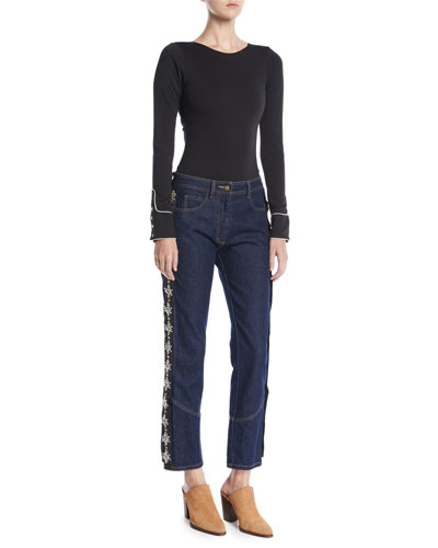 Crewneck Long-Sleeve Bodysuit w/ Western Piping and Matching Items