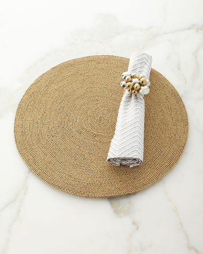Drift Zigzag Napkin, White/Gold/Silver and Matching Items