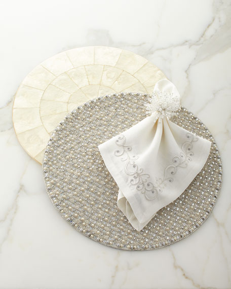 Ritz Embroidered Linen Napkin, White/Silver