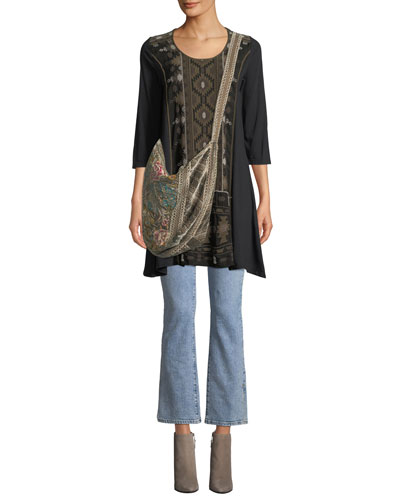 Nomi Woven-Panel Knit Easy Tunic  and Matching Items