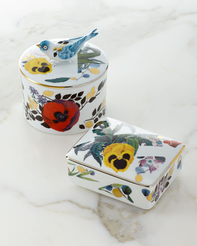 American Floral Porcelain Box and Matching Items