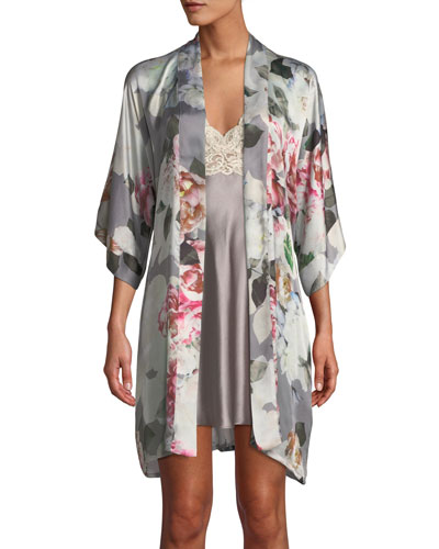 Jolie Floral-Print Short Robe and Matching Items
