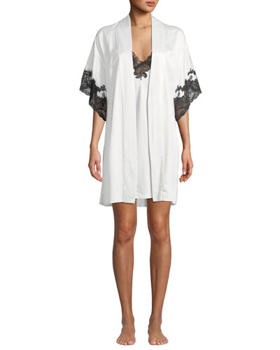 Plume Lace-Trim Satin Short Robe and Matching Items