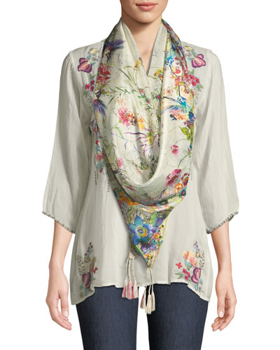 Nixie V-Neck 3/4-Sleeve Floral-Embroidered Blouse, Plus Size and Matching Items