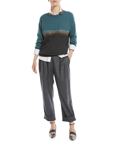 Crewneck Bicolor Horizontal-Stripe 2-Ply Cashmere Sweater and Matching Items