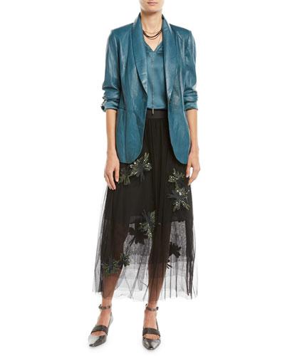Shawl-Collar One-Button Leather Blazer w/ Monili Trim and Matching Items