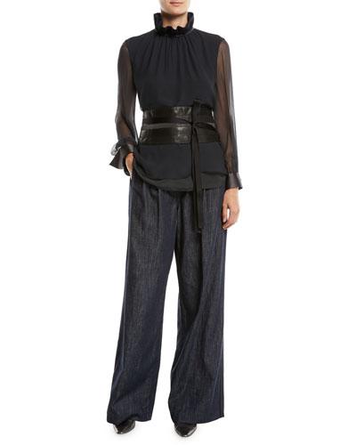 Long-Sleeve Silk Chiffon Blouse w/ Ruffle Monili Collar  and Matching Items