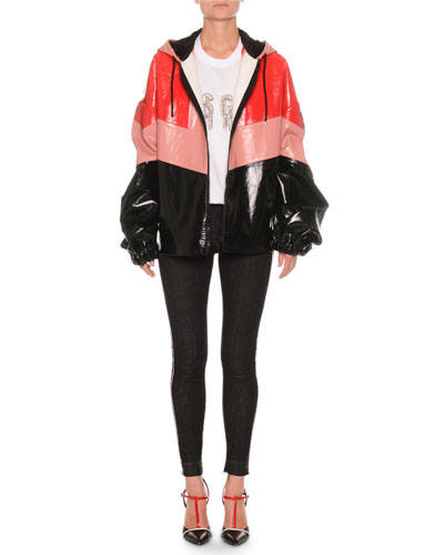 Faux-Leather Coloblock Zip-Front Jacket and Matching Items