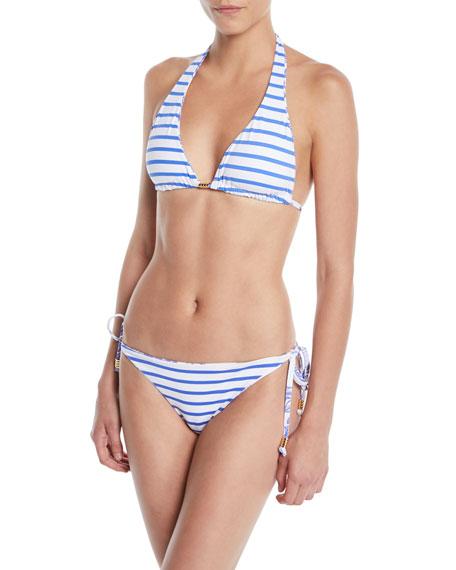 Reversible Elephant/Stripes Triangle Bikini Top