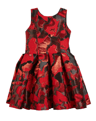 Abstract Floral Jacquard Party Dress, Size 7-16  and Matching Items