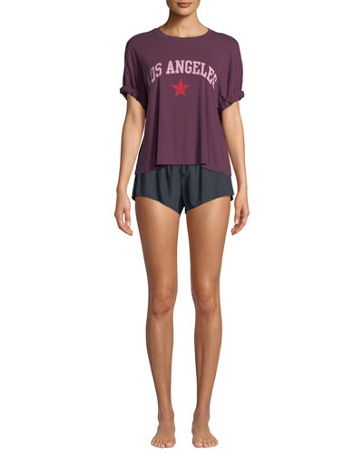Shaya Cotton Lounge Shorts, Maroon and Matching Items