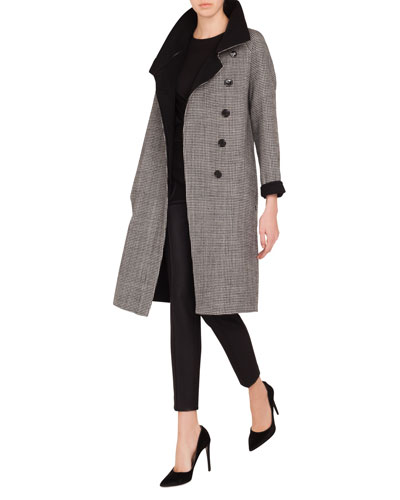 Terrance Reversible Stand-Collar Button-Panel Houndstooth Wool Coat  and Matching Items