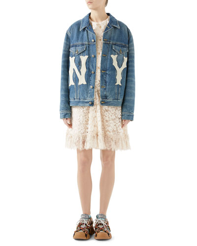Stone-Washed Denim Jacket with NY Yankees Patch and Matching Items