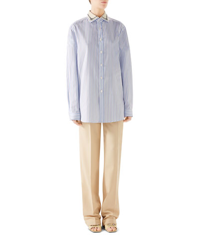 Embroidered Collar Button-Placket Long-Sleeve Striped Cotton Shirt and Matching Items