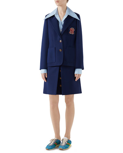 Single-Breasted NY Yankees Patch Cady Crepe Wool Jacket and Matching Items