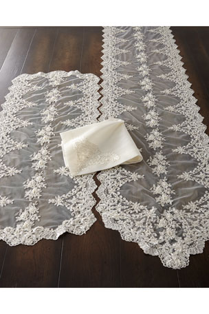 Nomi K Hand-Beaded Pearls & Embroidery Silk Napkin Lace and Pearl Embroidered Table Runner